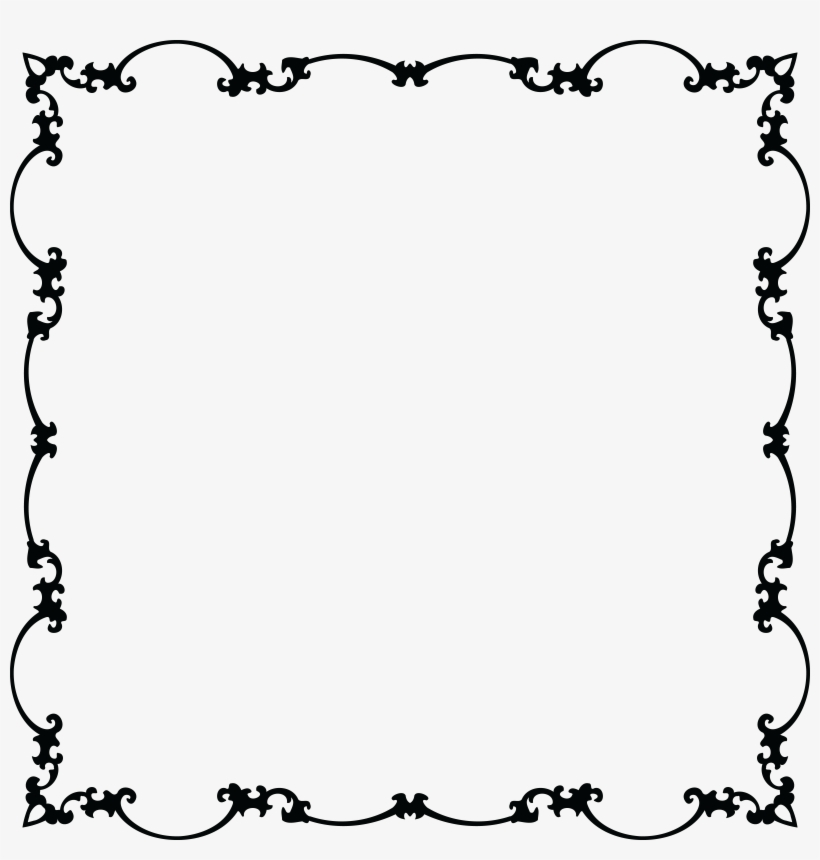 Free Clipart Of A Fancy Floral Frame Black And White
