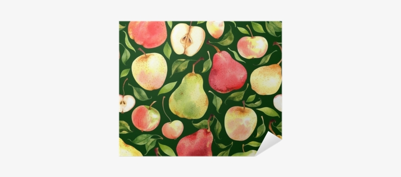 Seamless Pattern With Watercolor Apples And Pears On - Pears Andapples By Achtung - Customized Wallpaper Patterns, transparent png #153628