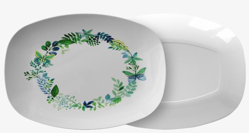 Butterfly Wreath Watercolor Designer Platter - Tehran, transparent png #155066