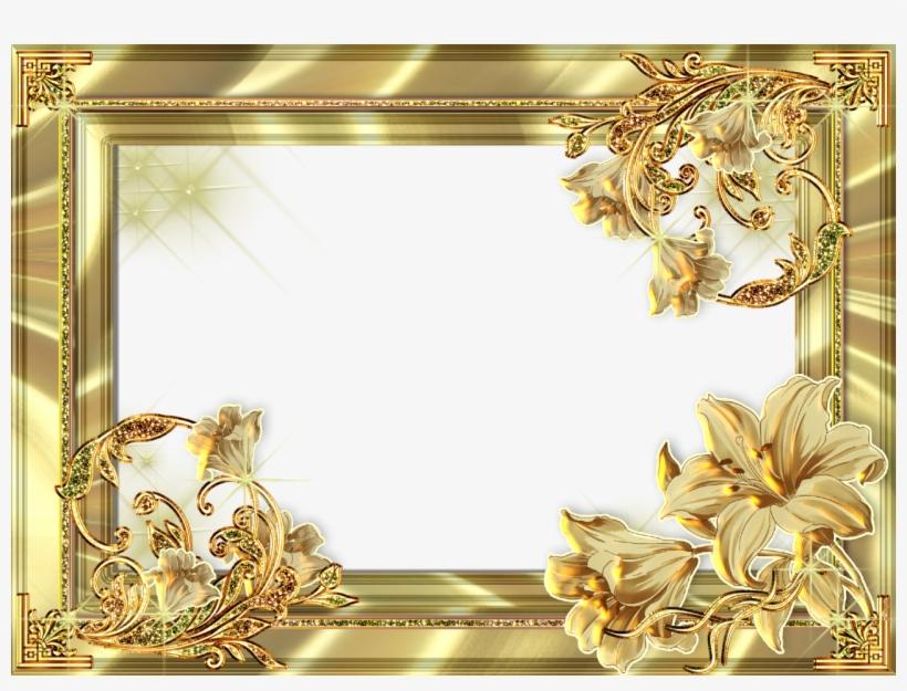 Gold Flower Frame Png Photos - Gold Floral Frame Png, transparent png #156532