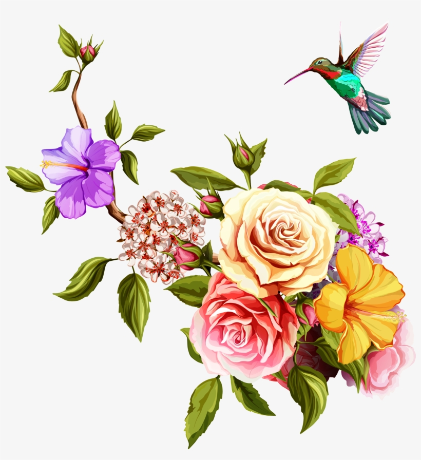 Transparent Watercolor Painting Flowers And Birds Transprent - Old Rose Hummingbird Png Birds And Flowers Border, transparent png #157036