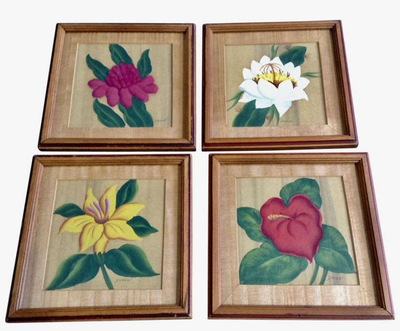 Beautiful Vintage Flowers In Frames Floral Tempera - Watercolor Painting, transparent png #157185