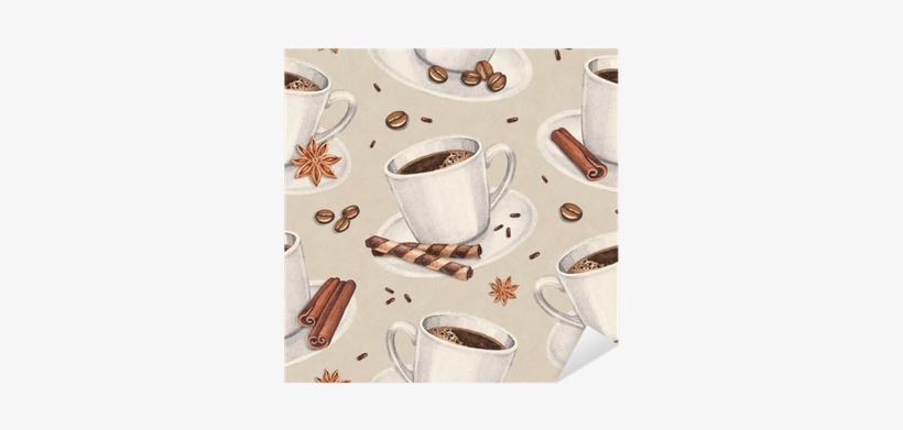 Watercolor Illustrations Of Coffee Cup - Papel De Parede De Cafe Adesivo, transparent png #157514