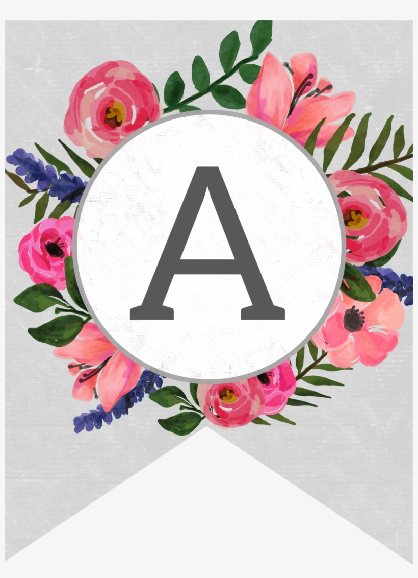 graphic regarding Printable Letters Banner identify Floral Alphabet Banner Letters Free of charge Printable - Totally free