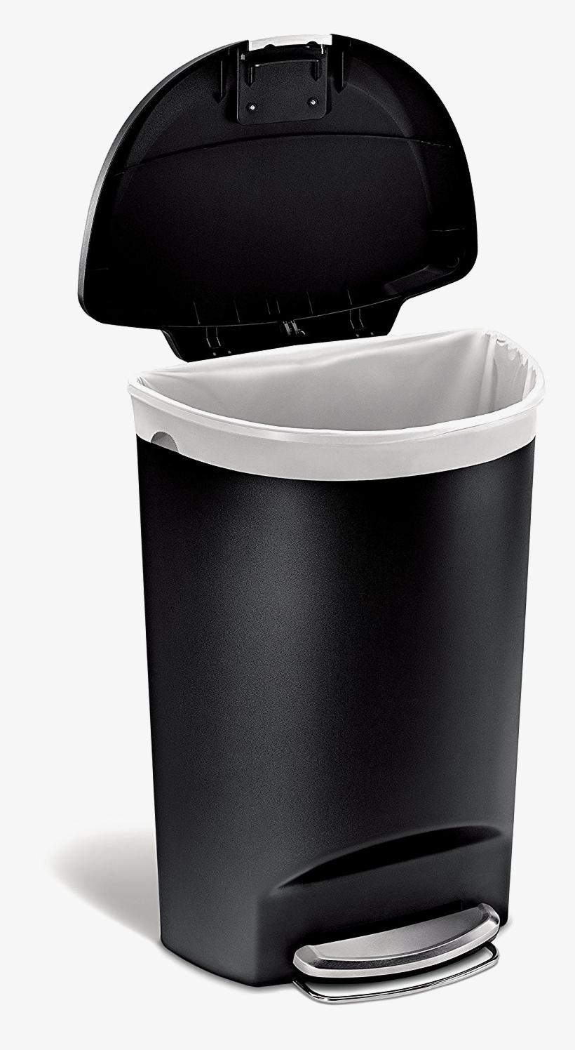 Trash Can Png Photo - Simplehuman Plastic Semi Round 50 Liter Step, transparent png #159290