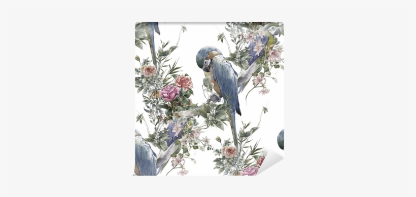 Watercolor Painting With Birds And Flowers, Seamless - Watercolor Painting, transparent png #1503079