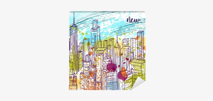 Vintage Colorful Hand Drawn City Landscape And Splashes - New York Colorato, transparent png #1503155
