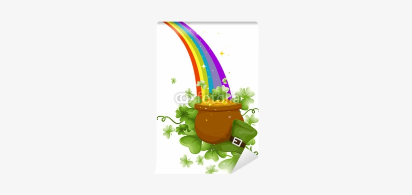 Pot Of Gold At The End Of A Rainbow Wall Mural - March Pot Of Gold, transparent png #1503779