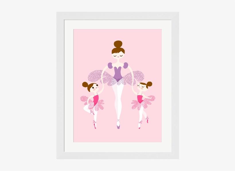 Ballerina & Twins In Pink & Purple Framed Art Print - Cartoon Ballet Mom Daughter, transparent png #1505510
