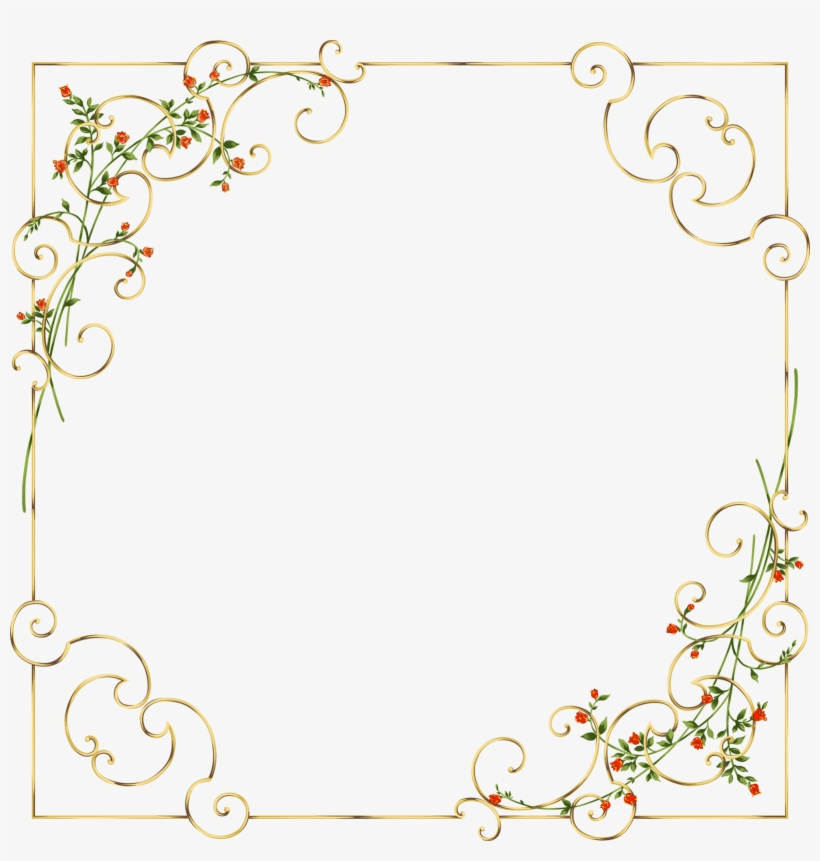 Gold Frame With Delicate Wild Flowers Gallery Yopriceville - Flower Gold Frame Png, transparent png #1511980