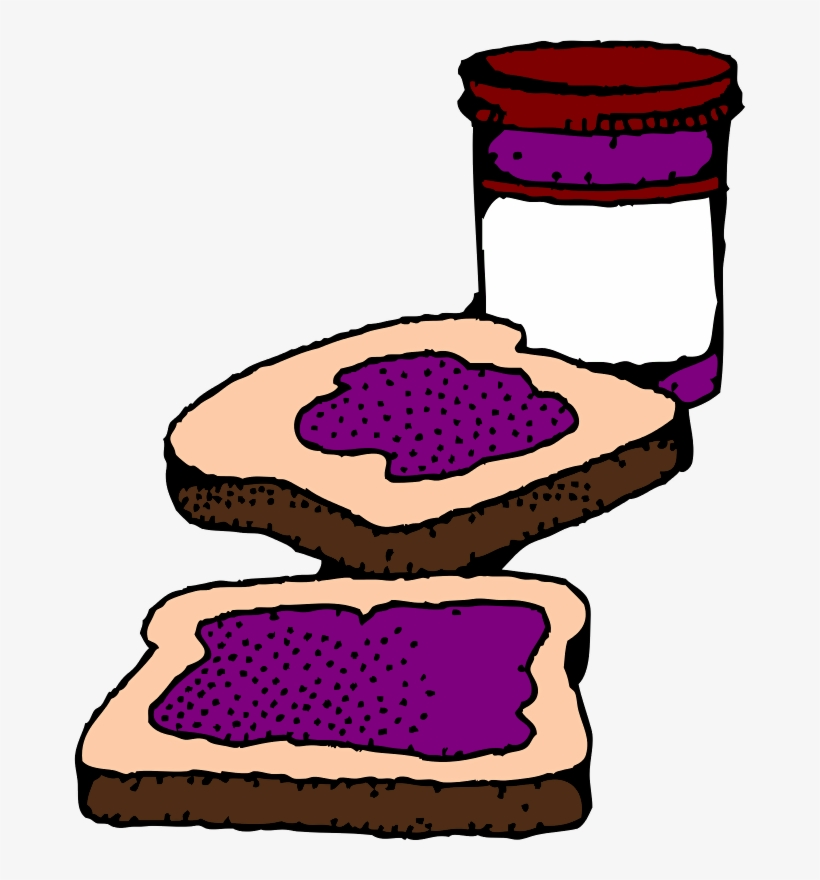 Color Peanut Butter And Jelly Sandwiches - Jelly Clipart, transparent png #1514122