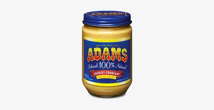 Adams® 100% Natural Crunchy Unsalted Peanut Butter - Adams Natural Unsalted Creamy Peanut Butter, transparent png #1514373