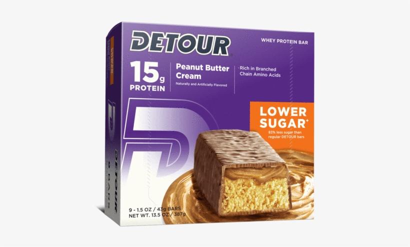 Peanut Butter Cream - Detour Bars Lower Sugar Protein Bars (box, transparent png #1515072