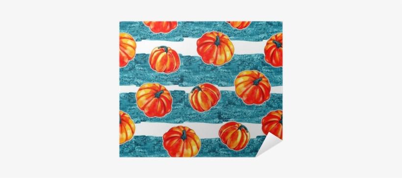 Artistic Seamless Halloween Pattern Design - Watercolor Pumpkin Background, transparent png #1516855