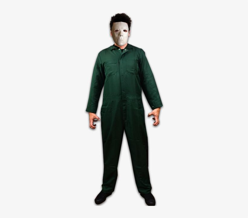 Halloween Ii Deluxe Coveralls With Mask - Men's Pine Green Michael Myers Halloween Ii Costume, transparent png #1518201