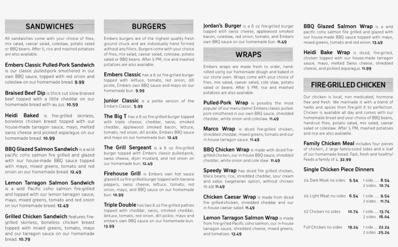 Embers Bbq House, Mission Menu - Embers Bbq House, transparent png #1519162
