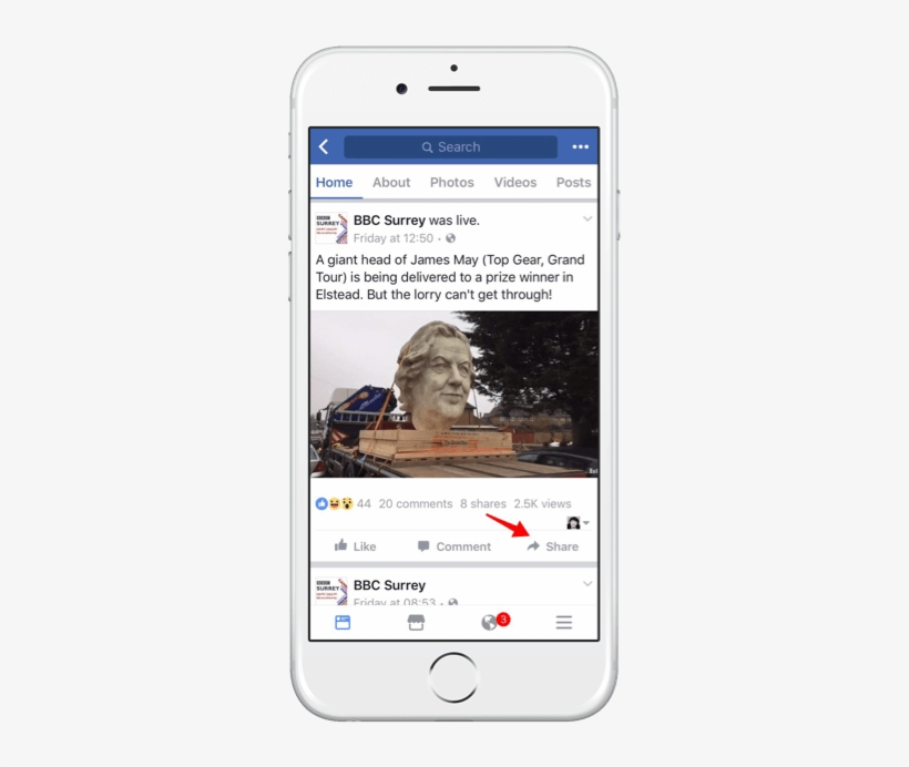 Click The Share Button On The Facebook Video - Live Facebook Share Button, transparent png #1528005