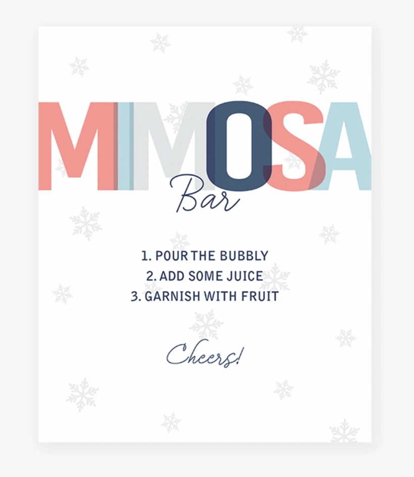 picture relating to Mimosa Bar Sign Printable Free identified as Winter season Shower Mimosa Bar Desk Indicator Printable Through