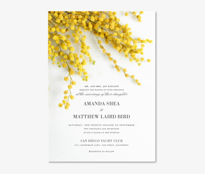 - - Invite Yellow Flowers Wedding, transparent png #1529094