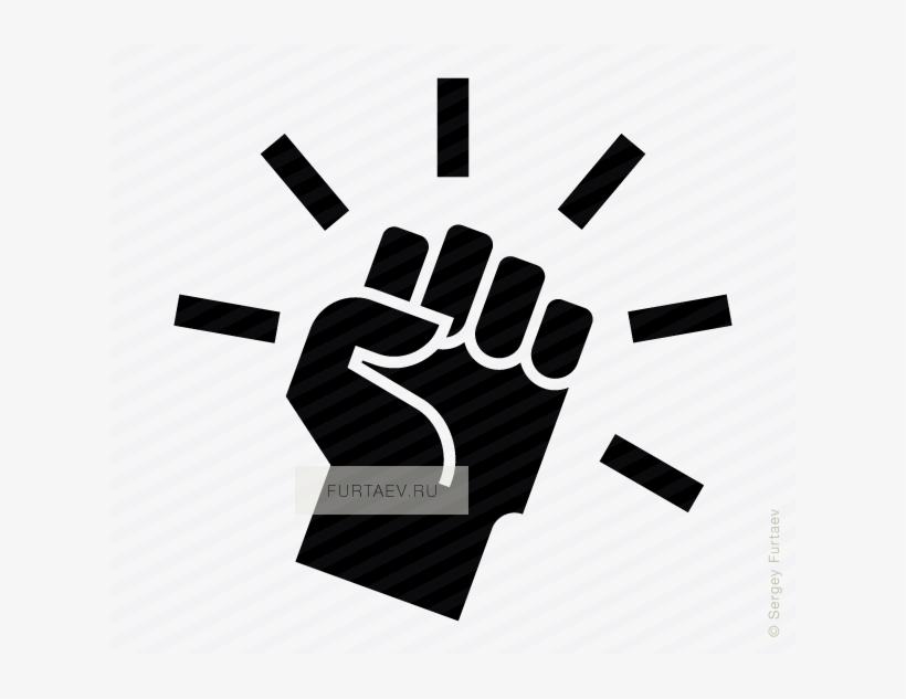 Vector Icon Of Raised Fist With Motion Lines Around - Revolution Hand Icon, transparent png #1530564