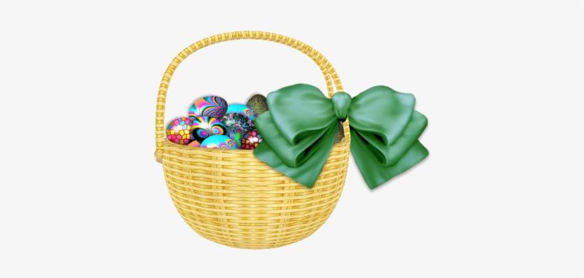 Easter Basket Green Ribbon - Easter Basket Png Transparent, transparent png #1536456