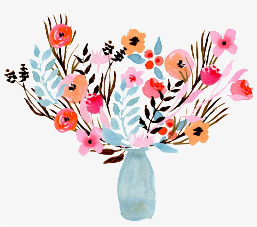 This Graphics Is Watercolor Vase Decoration Transparent - Flower Vase Water Colour Png, transparent png #1536496