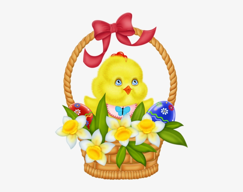 Easter Basket With Eggs Chicken And Daffodils Png Picture - Easter Basket With Flowers Clip Art, transparent png #1536633