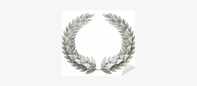 Round Silver Wreath Of Laurel Leaves Sticker • Pixers® - Winner Laurel Wreath, transparent png #1539293