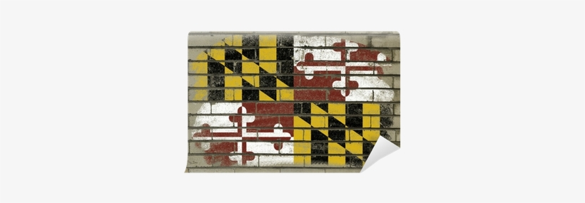 Grunge Flag Of Us State Of Maryland On Brick Wall Painted - Maryland State Flag, transparent png #1553137