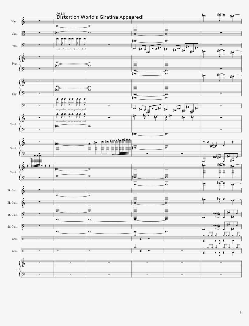 Giratina Sheet Music 3 Of 29 Pages - Giratina Music Piano Sheet Music Page, transparent png #1553954