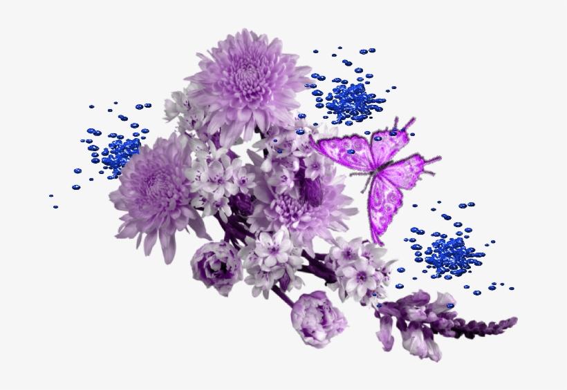 Borboletas E Flores Lilas