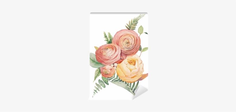 Wall Murals Watercolor Flowers Bouquet Hand Painted - Ranunculus Botanical Illustration, transparent png #1557072