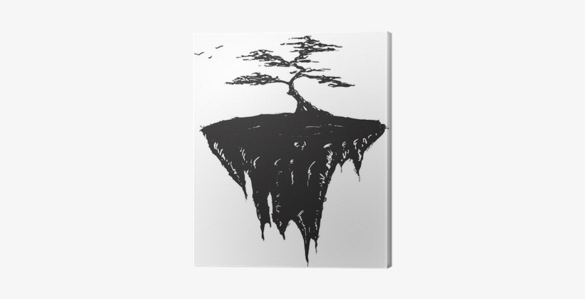 Tree Growing On A Floating Island, Black And White - Tree, transparent png #1561466