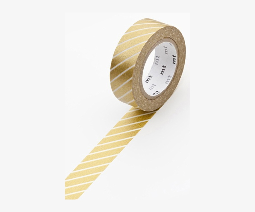 Mt Masking Tape Gold Stripe - Mt Washi Masking Tape - 15mm X 10m - Stripe Gold, transparent png #1565247
