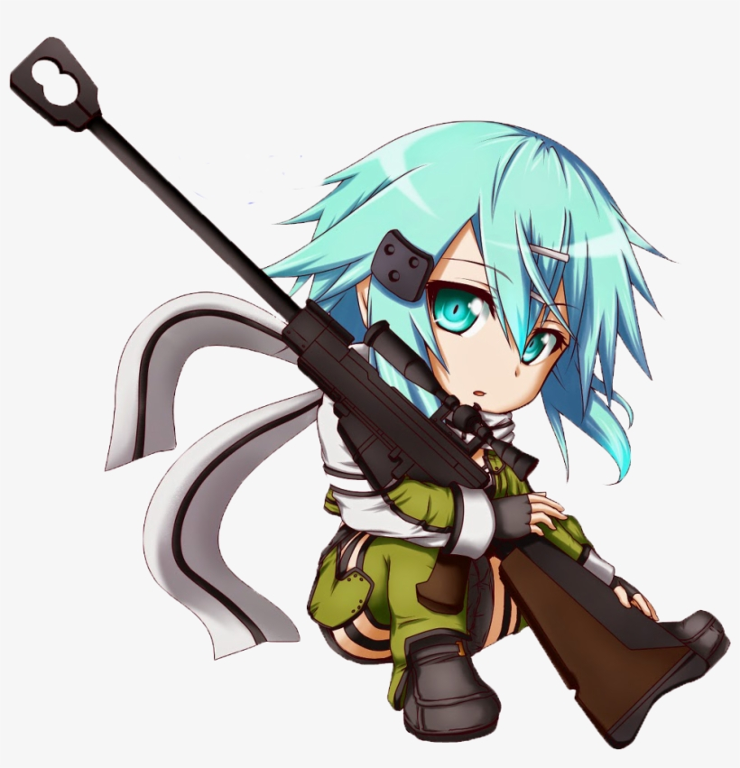 Chibi Sinon Render By Faizal101-d8i4sxs - Sword Art Online Sinon Chibi, transparent png #1565482