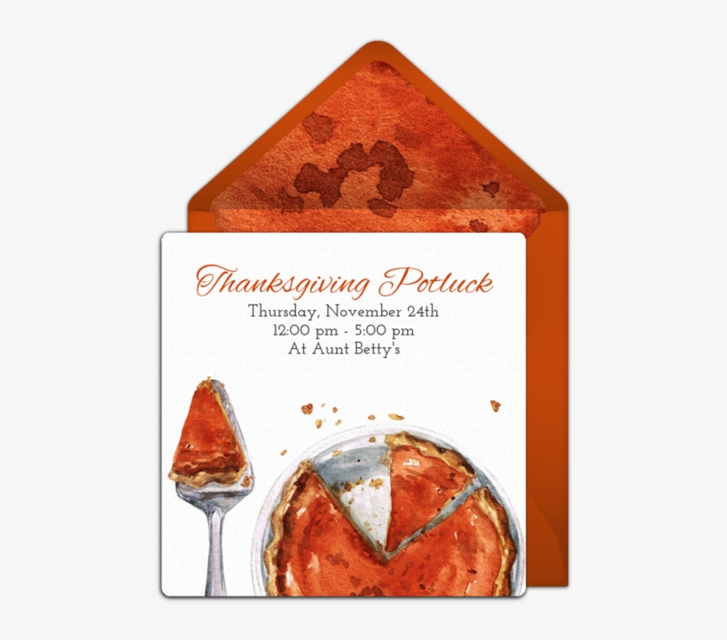 Pumpkin Pie Potluck Online Invitation - Pumpkin Pie, transparent png #1566300