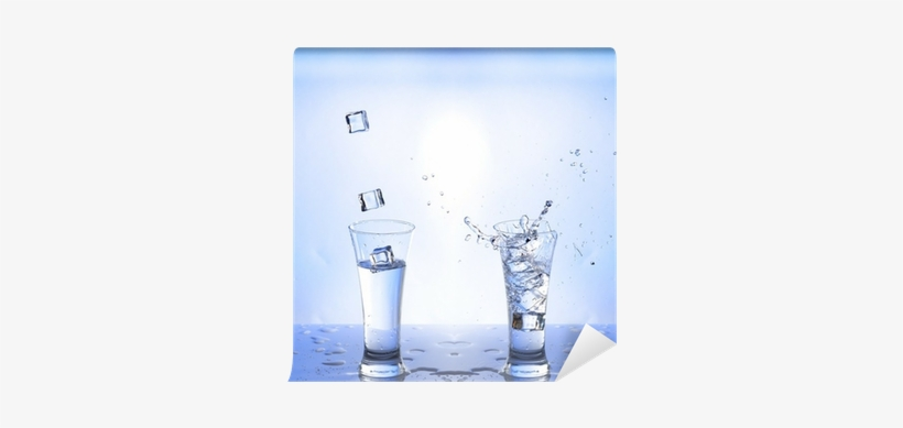 Water Splash In Glasse, White-blue Background Wall - Water, transparent png #1568370