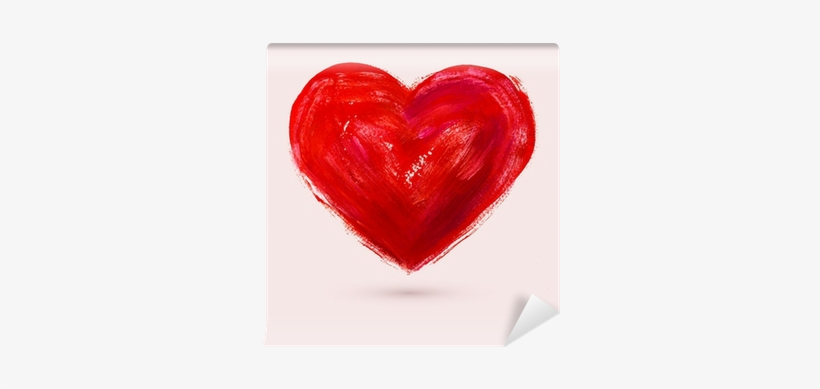 Watercolor Heart, Vector Illustration Wall Mural • - Heart Water Color Red, transparent png #1571787