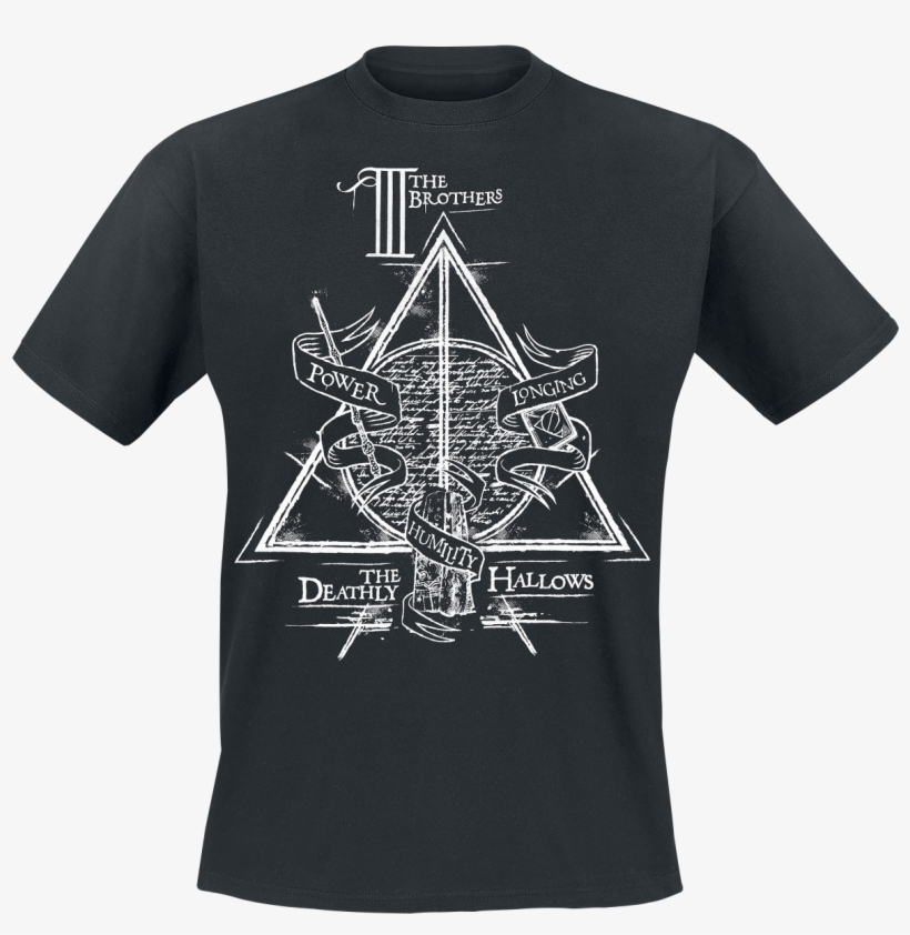 Null Deathly Hallows Black T-shirt 356755 Hmnqrci - Deathly Hallows, transparent png #1576914