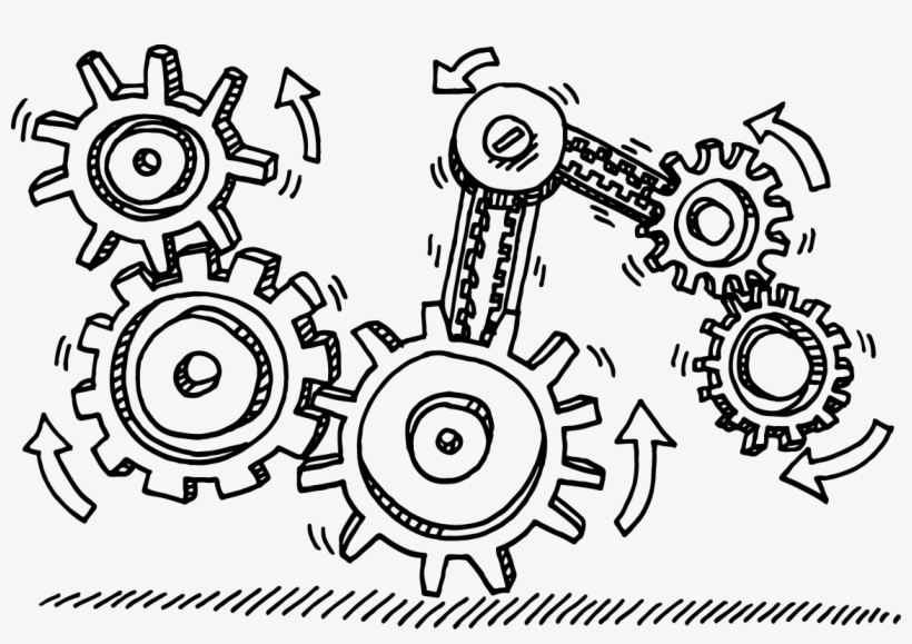 Technical Gears Transprent Png Jpg Transparent Library - Drawing Gears, transparent png #1584753