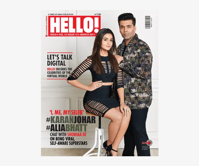 Alia Bhatt And Karan Johar On The Cover Of Hello India - Alia Bhatt Magazine Cover, transparent png #1586629