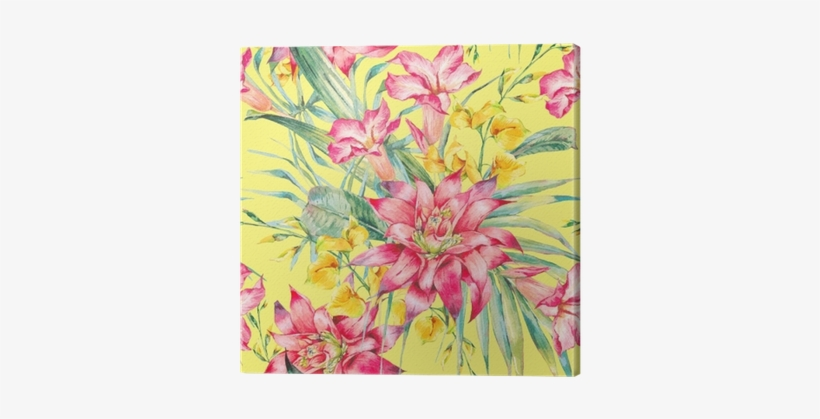 Watercolor Vintage Floral Tropical Seamless Pattern - Watercolor Painting, transparent png #1586980