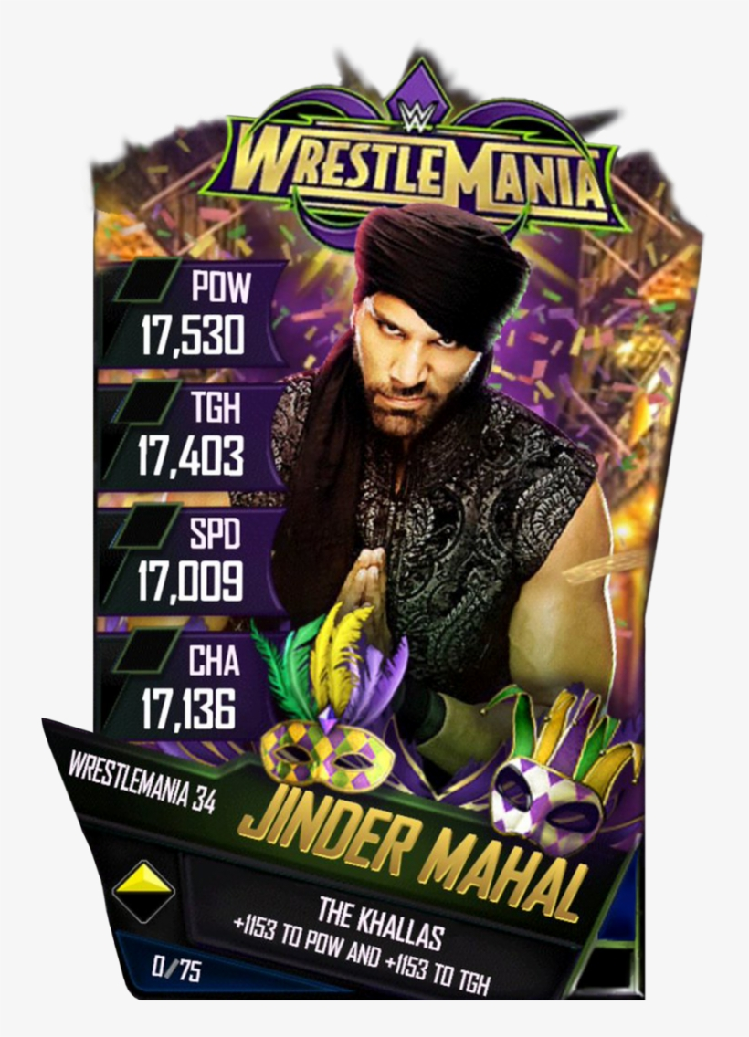 Jindermahal S4 19 Wrestlemania34 - Wwe Supercard Wrestlemania 34 Cards, transparent png #1588118