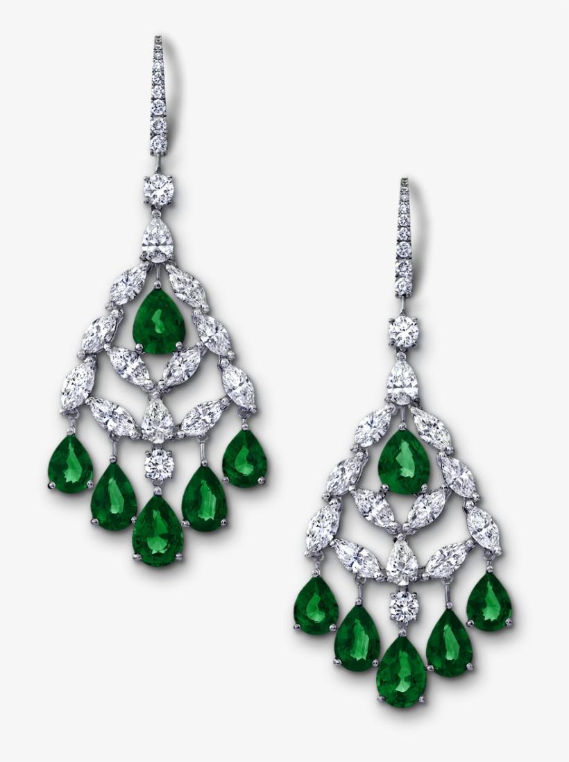 Angara Chandelier Emerald Dangle Earrings With Diamond - Earrings Graff Jewelry, transparent png #1594618