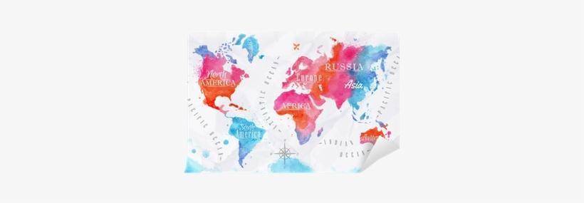 Watercolor World Map Pink Blue Self-adhesive Wall Mural - Carte Du Monde Noir Et Blanc, transparent png #161279