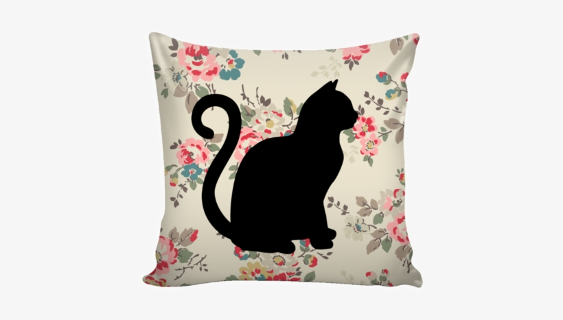 """Floral Cats Square Pillow Cover """"watercolor Flowers"""" - Cat Pillow Transparent Png, transparent png #161733"""