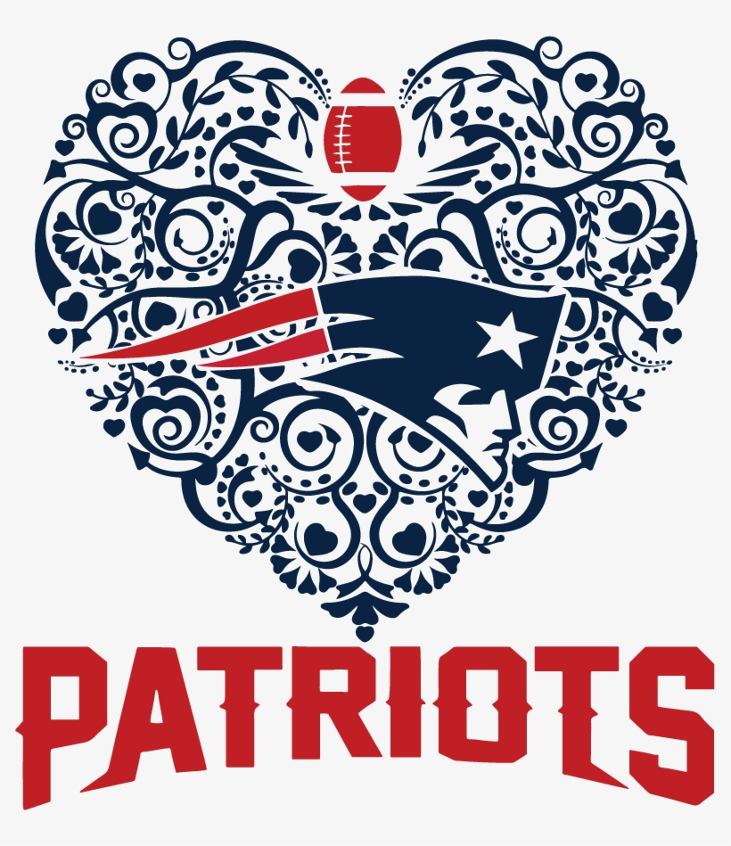 Patriots Football Sport Heart Dxf Svg - New England Patriots