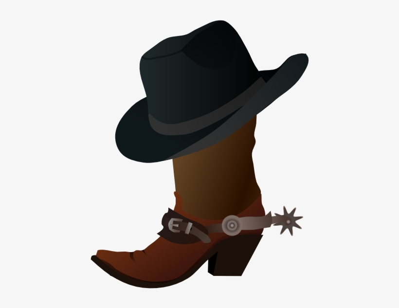 Western Clipart Cowgirl Boot - Cowboy Boot And Hat Clipart, transparent png #164525
