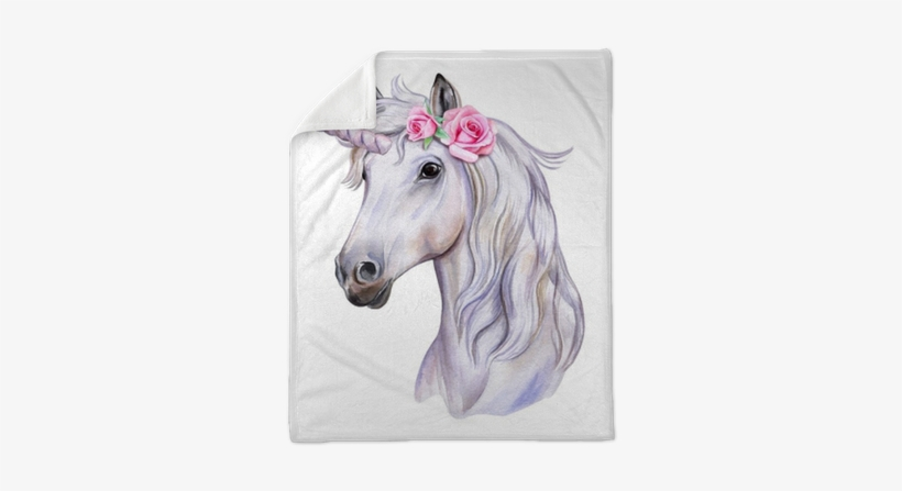 Unicorn With A Wreath Of Flowers - Water Color Unicorn Png, transparent png #164809