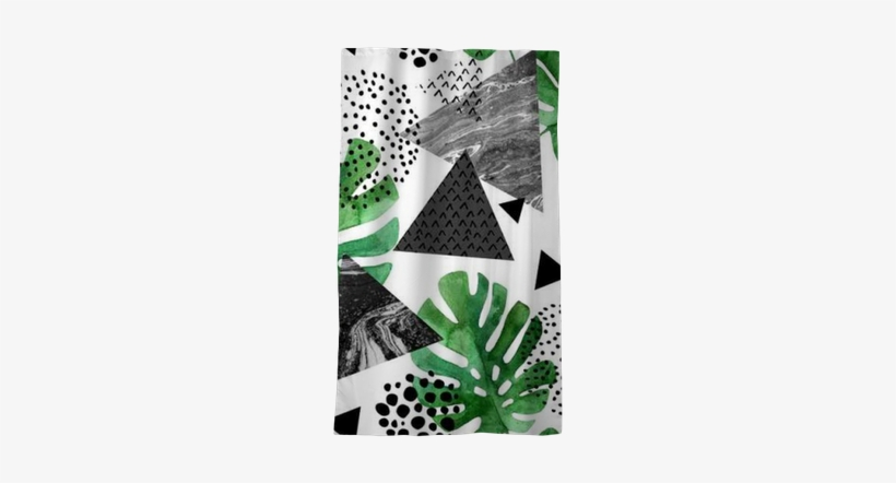 Watercolor Tropical Leaves And Textured Triangles Background - Tropical Leaf Watercolour, transparent png #167923